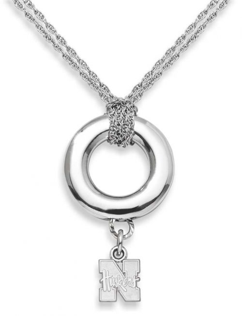 "Nebraska Cornhuskers 3/8"" ""N Huskers"" Sterling Silver Halo Necklace"
