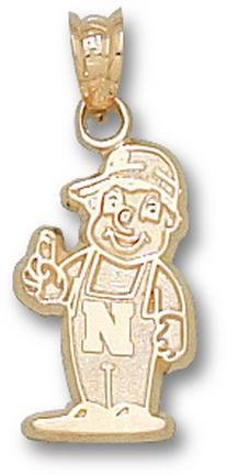 "Nebraska Cornhuskers 5/8"" ""Lil Red Mascot"" Pendant - 10KT Gold Jewelry"