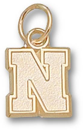 """Nebraska Cornhuskers Block """"N"""" 3/8"""" Charm - 14KT Gold Jewelry"""
