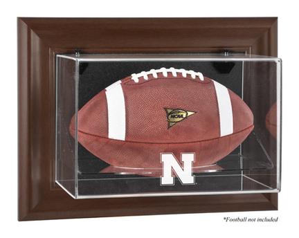 Nebraska Cornhuskers Brown Framed Wall Mountable Logo Football Display Case