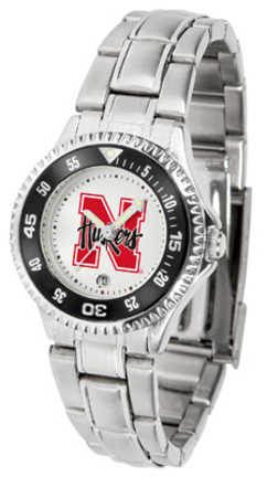 Nebraska Cornhuskers Competitor Ladies Watch with Steel Band