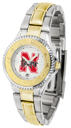 Nebraska Cornhuskers Competitor Ladies Watch with Two-Tone Band