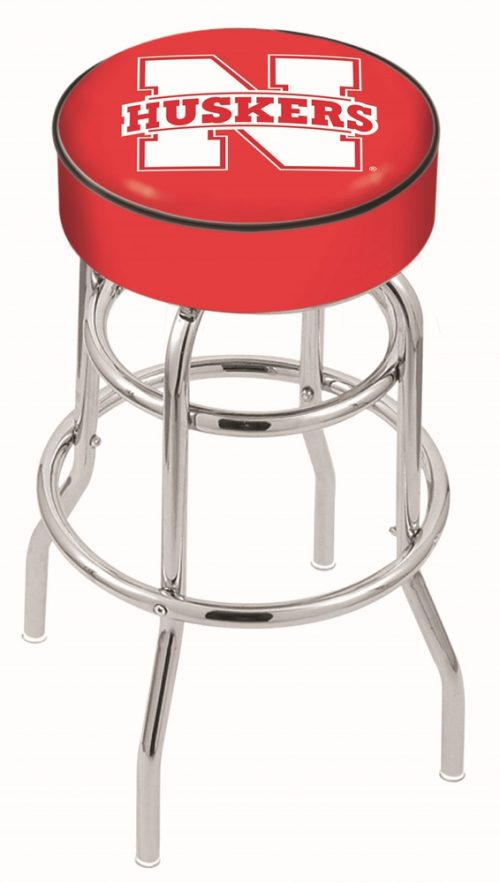 "Nebraska Cornhuskers (L7C1) 30"" Tall Logo Bar Stool by Holland Bar Stool Company (with Double Ring Swivel Chrome Base)"
