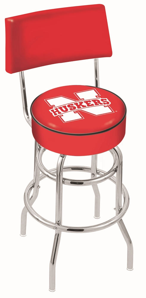 "Nebraska Cornhuskers (L7C4) 25"" Tall Logo Bar Stool by Holland Bar Stool Company (with Double Ring Swivel Chrome Base and Chair Seat Back)"