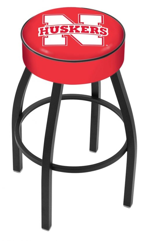 "Nebraska Cornhuskers (L8B1) 25"" Tall Logo Bar Stool by Holland Bar Stool Company (with Single Ring Swivel Black Solid Welded Base)"
