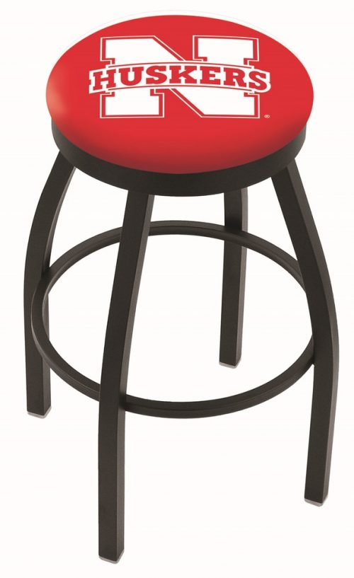 "Nebraska Cornhuskers (L8B2B) 25"" Tall Logo Bar Stool by Holland Bar Stool Company (with Single Ring Swivel Black Solid Welded Base)"
