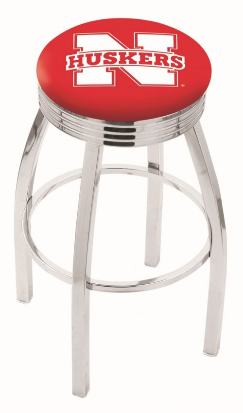 "Nebraska Cornhuskers (L8C3C) 25"" Tall Logo Bar Stool by Holland Bar Stool Company (with Single Ring Swivel Chrome Solid Welded Base)"