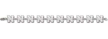 """Nebraska Cornhuskers """"N Huskers"""" 7.5"""" Bracelet - Sterling Silver Jewelry"""