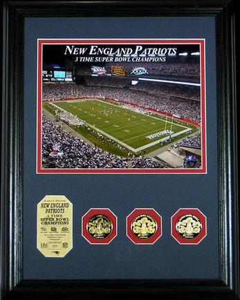 "New England Patriots 3 Time Super Bowl Champions 8"" x 10"" Framed Photograph and Medallion Set from The Highland Mint"