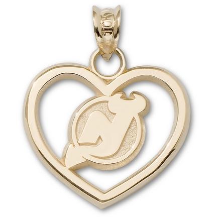 """New Jersey Devils """"NJ"""" Logo Heart Pendant - 10KT Gold Jewelry"""