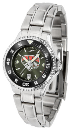 New Mexico Lobos Competitor AnoChrome Ladies Watch with Steel Band and Colored Bezel