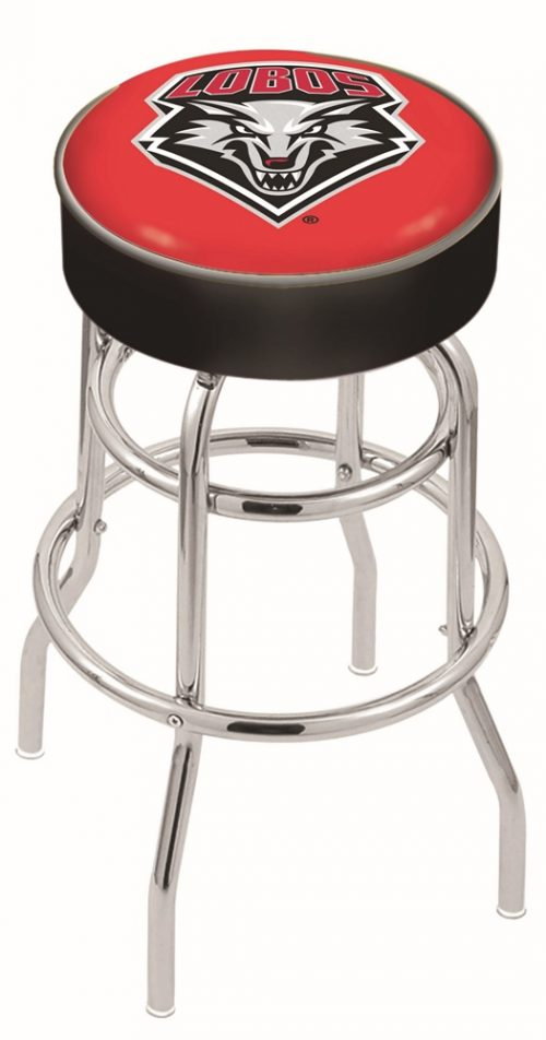 "New Mexico Lobos (L7C1) 25"" Tall Logo Bar Stool by Holland Bar Stool Company (with Double Ring Swivel Chrome Base)"