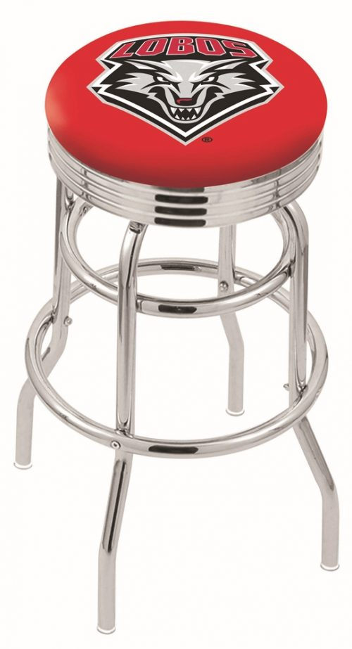 "New Mexico Lobos (L7C3C) 25"" Tall Logo Bar Stool by Holland Bar Stool Company (with Double Ring Swivel Chrome Base)"
