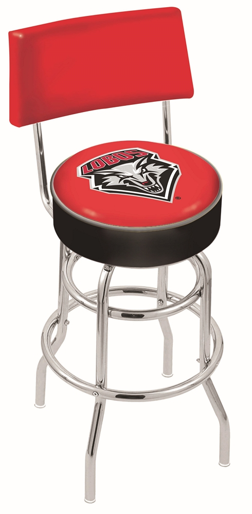 "New Mexico Lobos (L7C4) 25"" Tall Logo Bar Stool by Holland Bar Stool Company (with Double Ring Swivel Chrome Base and Chair Seat Back)"