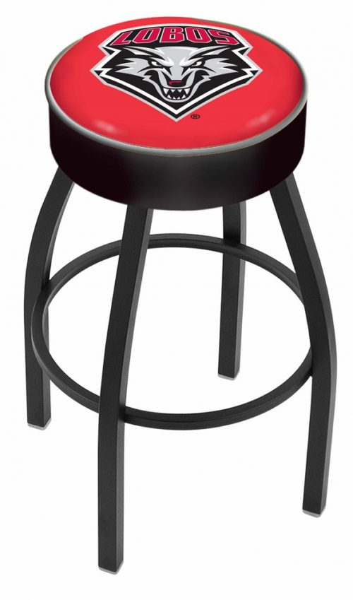 "New Mexico Lobos (L8B1) 25"" Tall Logo Bar Stool by Holland Bar Stool Company (with Single Ring Swivel Black Solid Welded Base)"