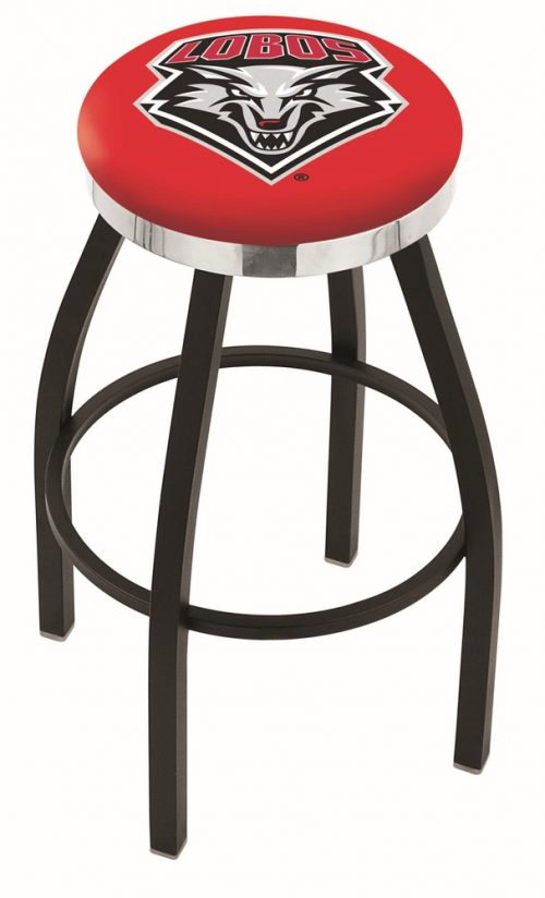 "New Mexico Lobos (L8B2C) 25"" Tall Logo Bar Stool by Holland Bar Stool Company (with Single Ring Swivel Black Solid Welded Base)"