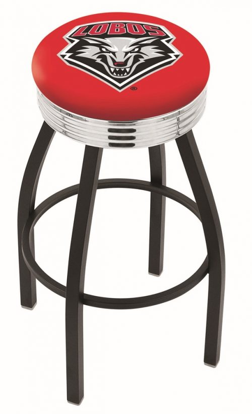 "New Mexico Lobos (L8B3C) 30"" Tall Logo Bar Stool by Holland Bar Stool Company (with Single Ring Swivel Black Solid Welded Base)"