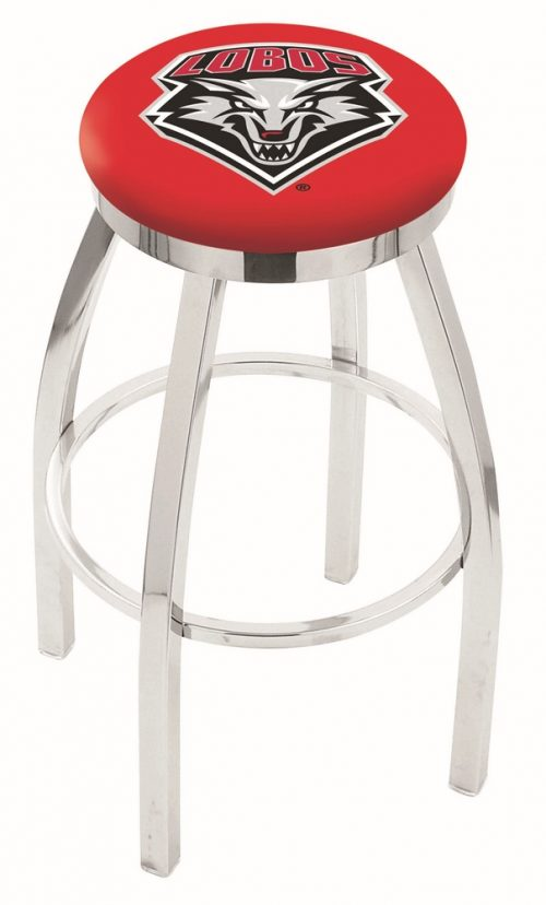 """New Mexico Lobos (L8C2C) 25"""" Tall Logo Bar Stool by Holland Bar Stool Company (with Single Ring Swivel Chrome Solid Welded Base)"""