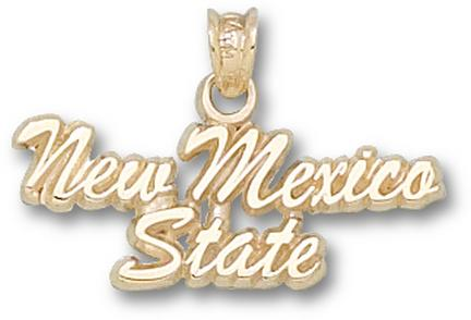 "New Mexico State Aggies Script ""New Mexico State"" 3/8"" Pendant - 10KT Gold Jewelry"