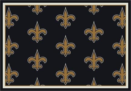 """New Orleans Saints 3' 10"""" x 5' 4"""" Team Repeat Area Rug (Black)"""
