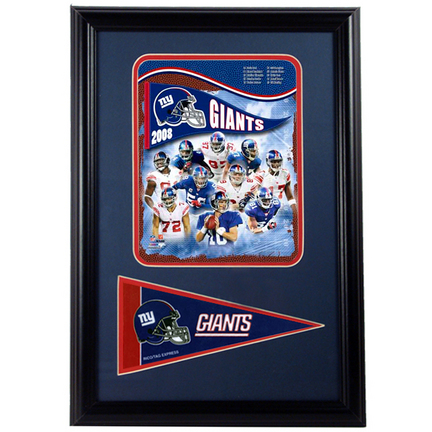 "New York Giants 2008 Photograph with Team Pennant in a 12"" x 18"" Deluxe Frame"