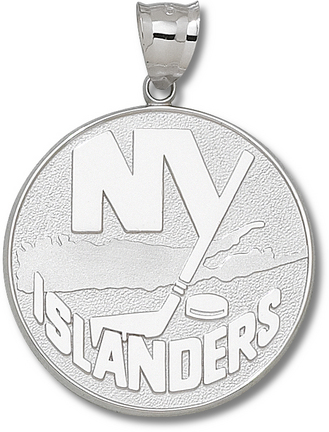 "New York Islanders Giant 1 5/8"" W x 1 5/8"" H ""NY Islanders Logo"" Pendant - Sterling Silver Jewelry"
