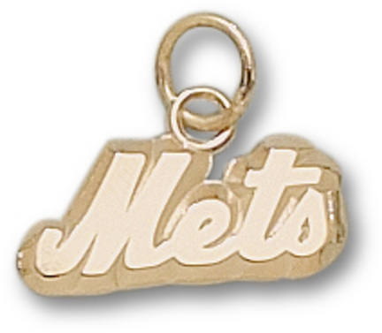 """New York Mets 1/4"""" """"Mets"""" Charm - 10KT Gold Jewelry"""