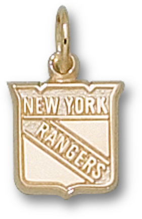 "New York Rangers 3/8"" Shield Logo Charm - 10KT Gold Jewelry"