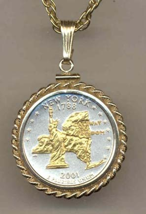 "New York Two Tone Rope Bezel Statehood Quarter with 18"" Rope Necklace"