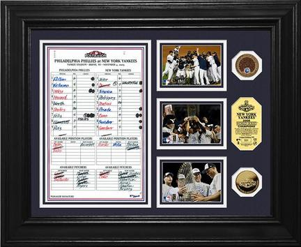 "New York Yankees 2009 World Series Champions ""Game 6 Line Up Card"" Framed 3"" x 5"" Photographs and Medallion Set from The Highland Mint"