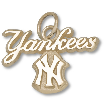 """New York Yankees """"Yankees NY"""" Script Charm - 10KT Gold Jewelry"""
