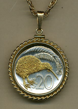 "New Zealand 20 Cent ""Kiwi"" Two Tone Gold Filled Rope Bezel Coin Pendant with 24"" Chain"