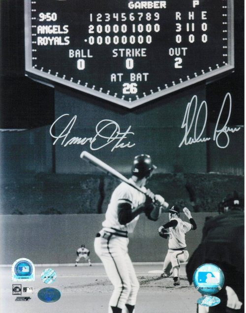 "Nolan Ryan California Angels and Amos Otis Kansas City Royals Autographed 8"" x 10"" Unframed Photograph (Pitching)"