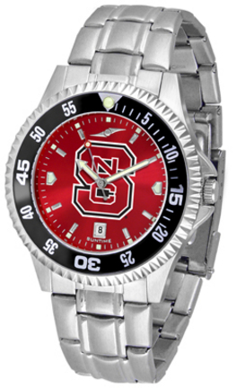 North Carolina State Wolfpack Competitor AnoChrome Men's Watch with Steel Band and Colored Bezel