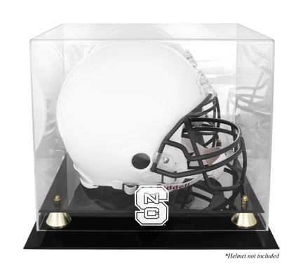 North Carolina State Wolfpack Golden Classic Logo Football Helmet Display Case with Mirror Back