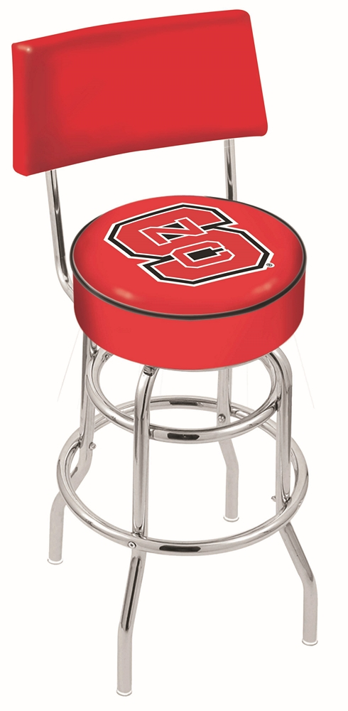 "North Carolina State Wolfpack (L7C4) 25"" Tall Logo Bar Stool by Holland Bar Stool Company (with Double Ring Swivel Chrome Base and Chair Seat Back)"