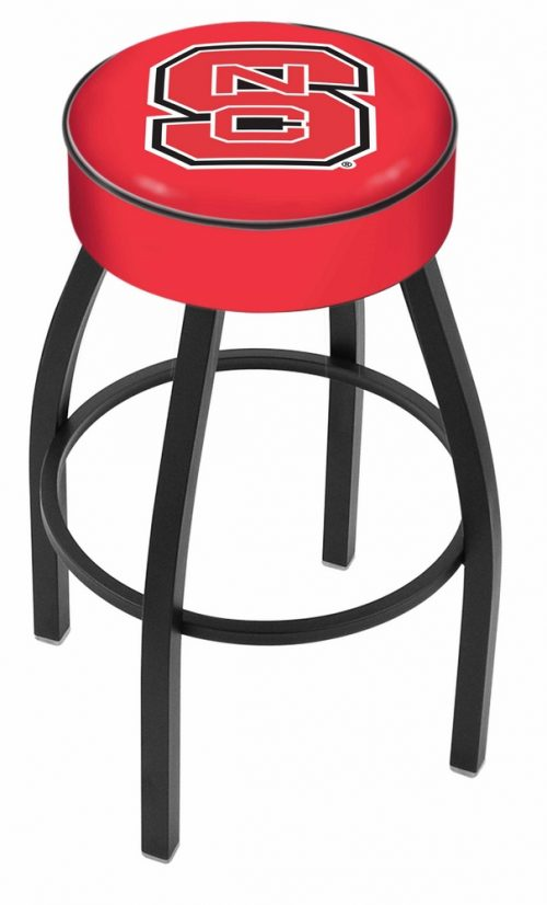 "North Carolina State Wolfpack (L8B1) 25"" Tall Logo Bar Stool by Holland Bar Stool Company (with Single Ring Swivel Black Solid Welded Base)"