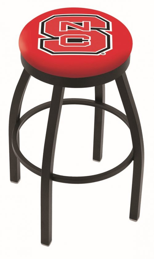 "North Carolina State Wolfpack (L8B2B) 25"" Tall Logo Bar Stool by Holland Bar Stool Company (with Single Ring Swivel Black Solid Welded Base)"