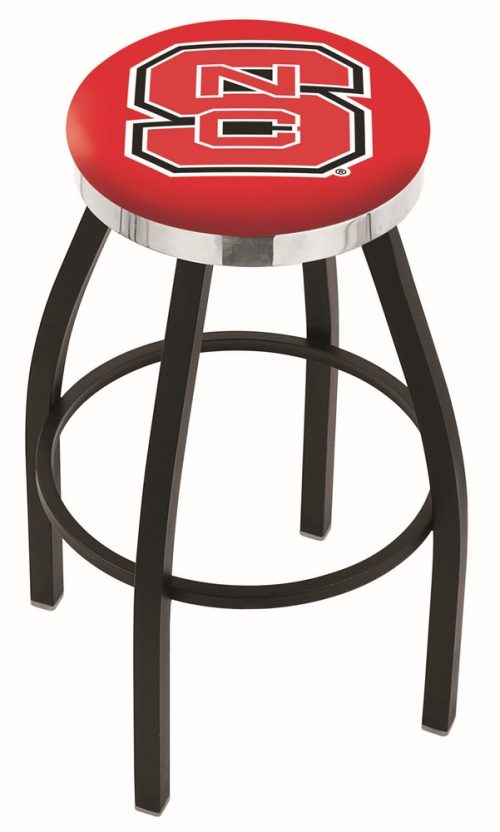 "North Carolina State Wolfpack (L8B2C) 25"" Tall Logo Bar Stool by Holland Bar Stool Company (with Single Ring Swivel Black Solid Welded Base)"