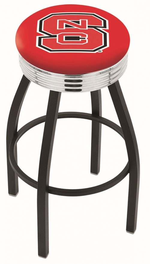 "North Carolina State Wolfpack (L8B3C) 25"" Tall Logo Bar Stool by Holland Bar Stool Company (with Single Ring Swivel Black Solid Welded Base)"