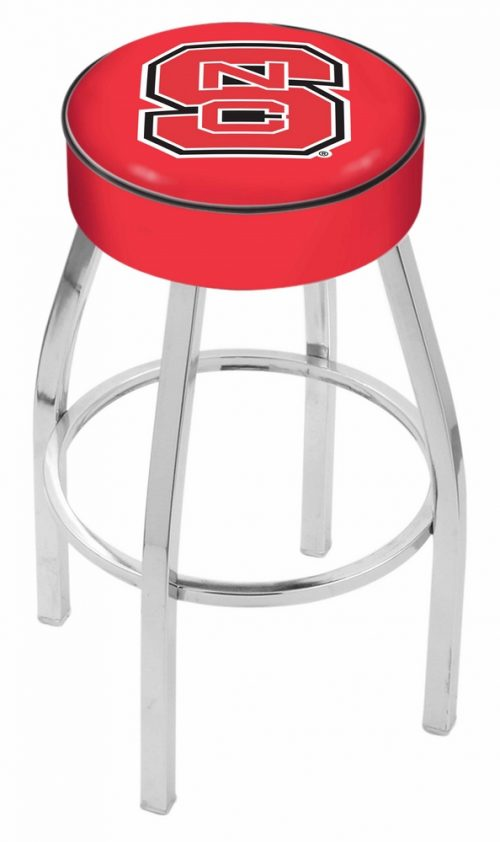 """North Carolina State Wolfpack (L8C1) 25"""" Tall Logo Bar Stool by Holland Bar Stool Company (with Single Ring Swivel Chrome Solid Welded Base)"""