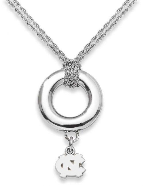 "North Carolina Tar Heels 5/16"" ""NC"" Sterling Silver Halo Necklace"