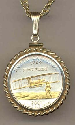 "North Carolina Two Tone Rope Bezel Statehood Quarter with 18"" Rope Necklace"