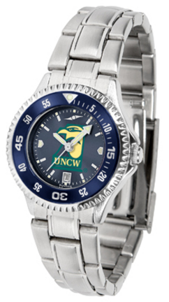 North Carolina (Wilmington) Seahawks Competitor AnoChrome Ladies Watch with Steel Band and Colored Bezel