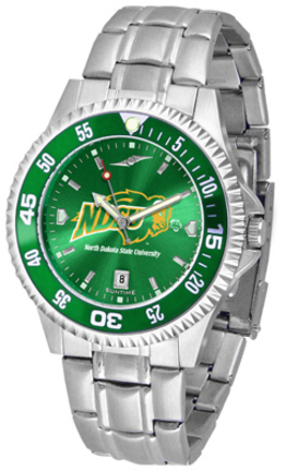 North Dakota State Bison Competitor AnoChrome Men's Watch with Steel Band and Colored Bezel