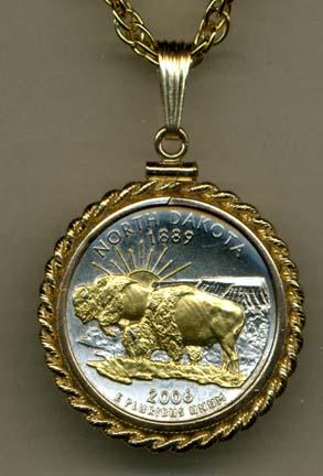 "North Dakota Two Tone Rope Bezel Statehood Quarter with 18"" Rope Necklace"
