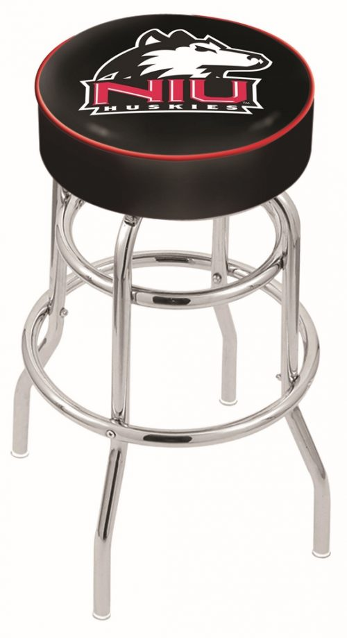 "Northern Illinois Huskies (L7C1) 25"" Tall Logo Bar Stool by Holland Bar Stool Company (with Double Ring Swivel Chrome Base)"