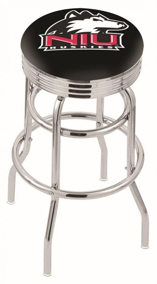 "Northern Illinois Huskies (L7C3C) 25"" Tall Logo Bar Stool by Holland Bar Stool Company (with Double Ring Swivel Chrome Base)"