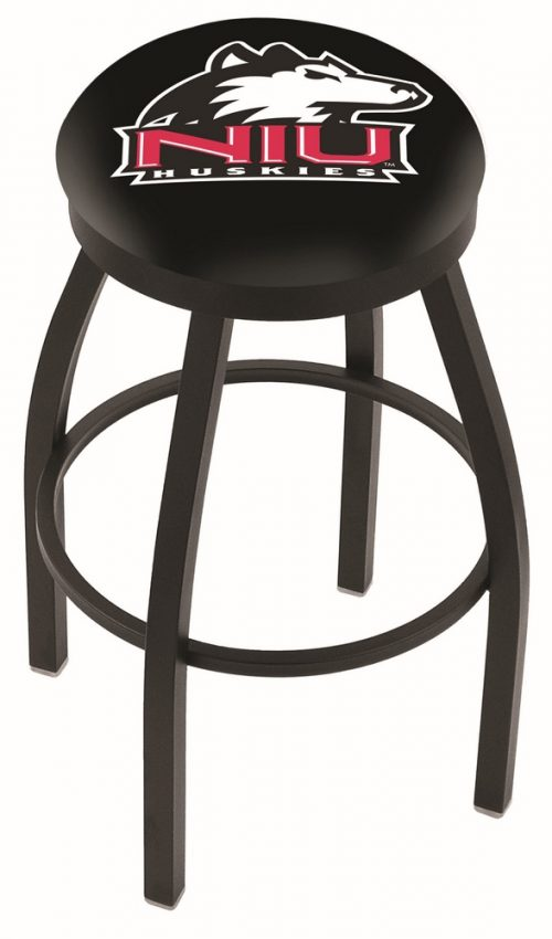 "Northern Illinois Huskies (L8B2B) 25"" Tall Logo Bar Stool by Holland Bar Stool Company (with Single Ring Swivel Black Solid Welded Base)"
