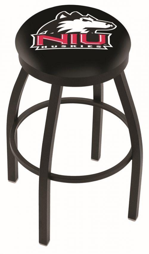"Northern Illinois Huskies (L8B2B) 30"" Tall Logo Bar Stool by Holland Bar Stool Company (with Single Ring Swivel Black Solid Welded Base)"